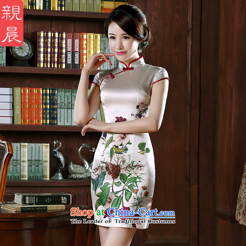 The pro-am silk cheongsam dress upscale 2015 new summer short of dresses herbs extract routine female improved picture color聽2XL