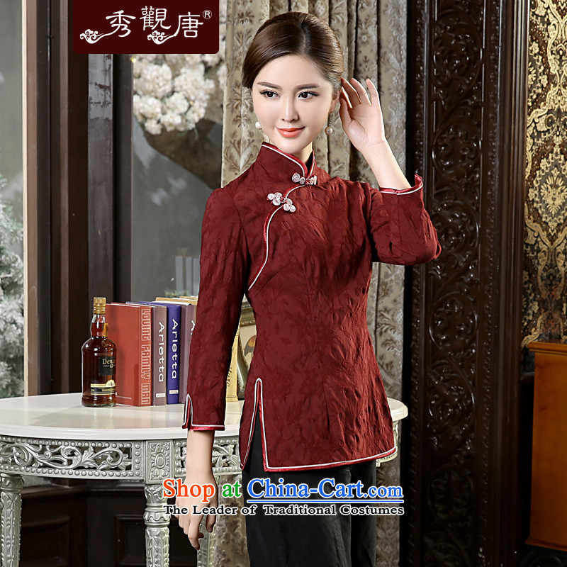 [Sau Kwun Tong] Director Jacob New) Autumn 2015 Ms. Tang Dynasty Chinese qipao shirt TC5638 improved retro 3XL chestnut horses