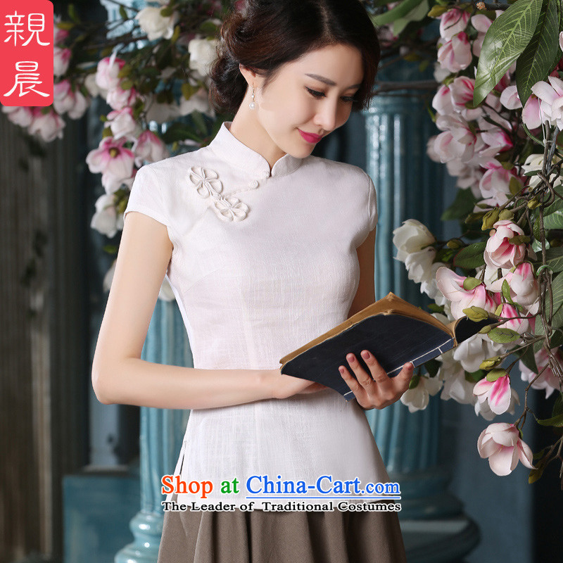 The pro-am qipao shirt new summer 2015 daily retro style white short of improved cotton linen dresses female clothes�XL-seven days of