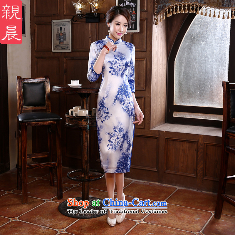 The pro-am porcelain cheongsam dress in new long summer and fall of 2015 with improved stylish Ms. everyday dress photo color燤