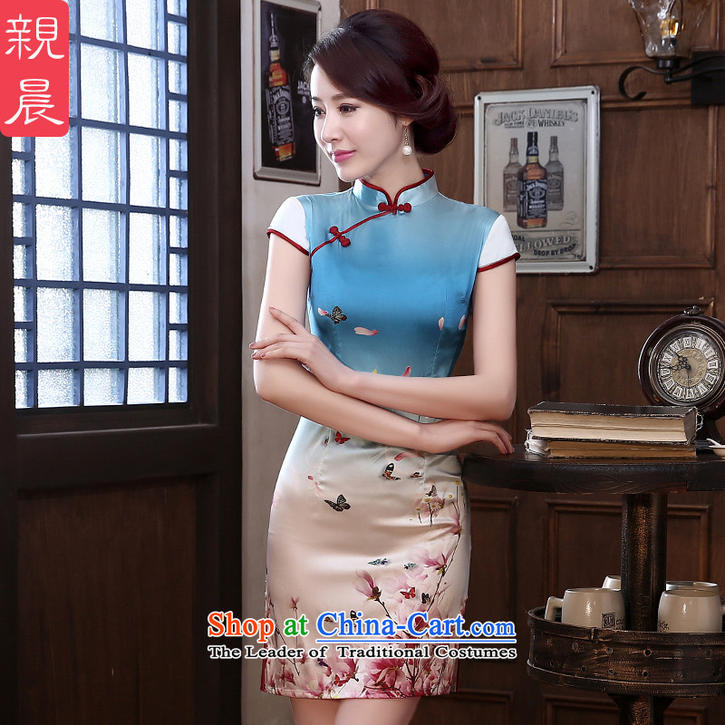 The pro-am Silk Cheongsam Summer 2015 new dresses female short of daily herbs extract cheongsam dress improved color pictures and stylish聽M