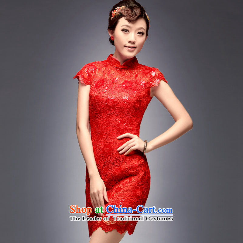 Eason Chan in summer and autumn replace short-bride dress retro improved lace red bows Services?2015 summer short of the new Marriage cheongsam dress red?XXL payment for about a week shipment