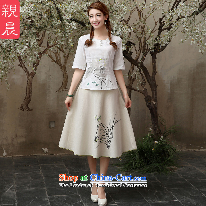 The pro-am cotton linen clothes 2015 new cheongsam qipao summer daily linen retro loose short, improved stylish shirt +P0011 skirt聽L