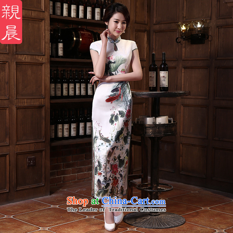 The pro-am qipao 2015 new summer daily dresses retro Sau San long cheongsam dress improved stylish Ms. long�L