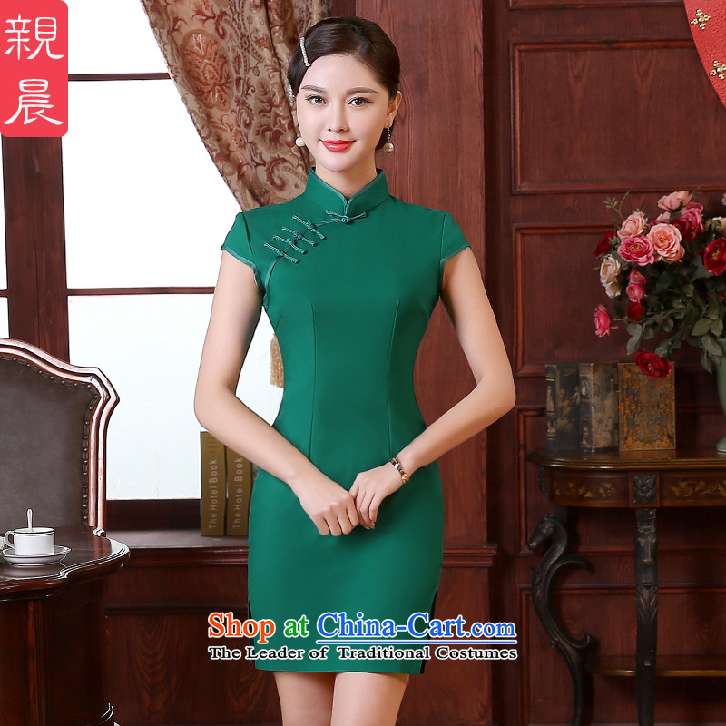 The pro-am cheongsam dress dresses 2015 Spring Summer daily retro Sau San Couture improved short-sleeved short green?S