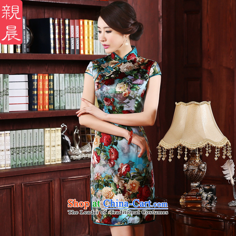 The pro-am Silk Cheongsam 2015 new summer daily upscale improved stylish Ms. herbs extract cheongsam dress green background green edge聽2XL