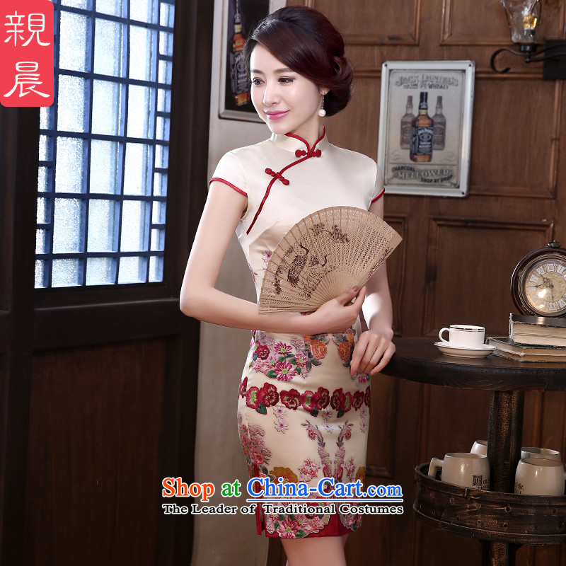 The pro-am Silk Cheongsam 2015 daily new summer upscale retro female herbs extract_ Improvement of short Sau San stylish short,聽XL