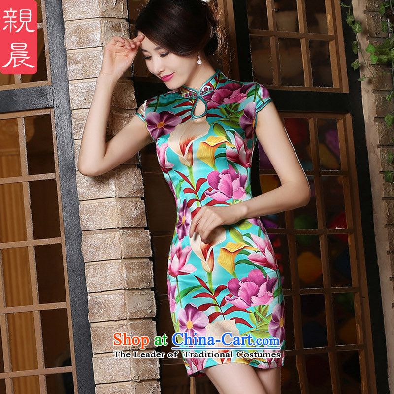 The pro-am Silk Cheongsam daily improved retro stamp herbs extract short, the new summer of the forklift truck is not cheongsam dress short of the girl聽S