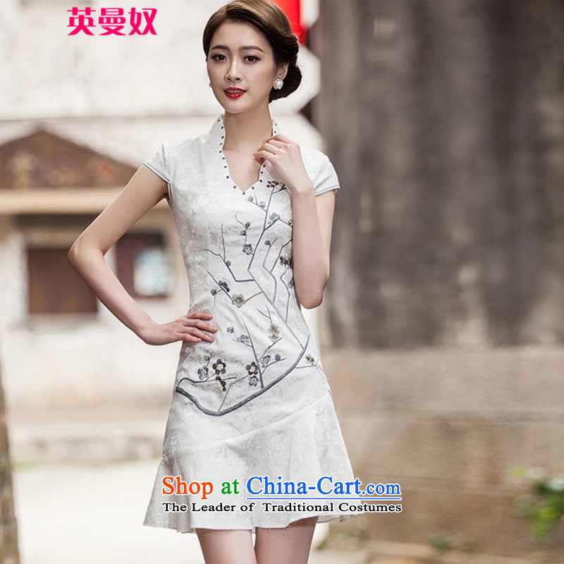 The British Yehudi?  spring and summer 2015 New Short Sleeve V-Neck embroidered Phillips-head nails pearl crowsfoot petticoats embroidery short qipao #1123 White?XXL