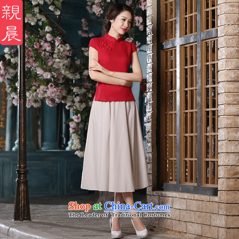 The pro-am cotton linen clothes 2015 new qipao summer daily short, red retro improved Ms. stylish dresses AV082 T-shirt + M white cheongsam dress 2XL