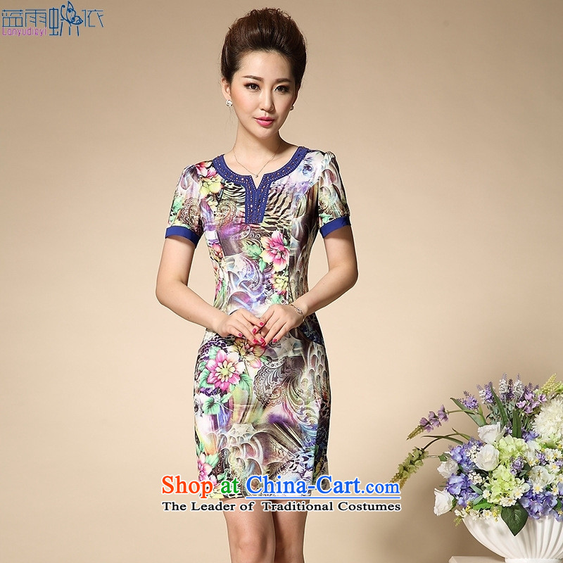 The new middle-aged women's summer V-neck strain mother load Sau San dresses 40-50-year-old short-sleeved package and suit燣