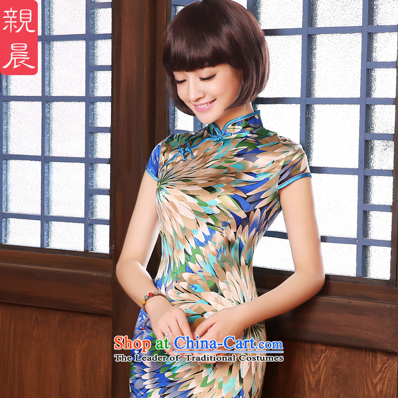 The pro-am daily 2015 Spring Summer herbs extract short of Sau San retro silk cheongsam dress up the skirt multi-color�L