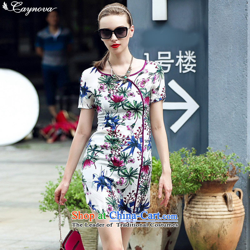 New Female decorated caynova2015 body graphics skinny fresh silk cheongsam dress color picture stamp燣