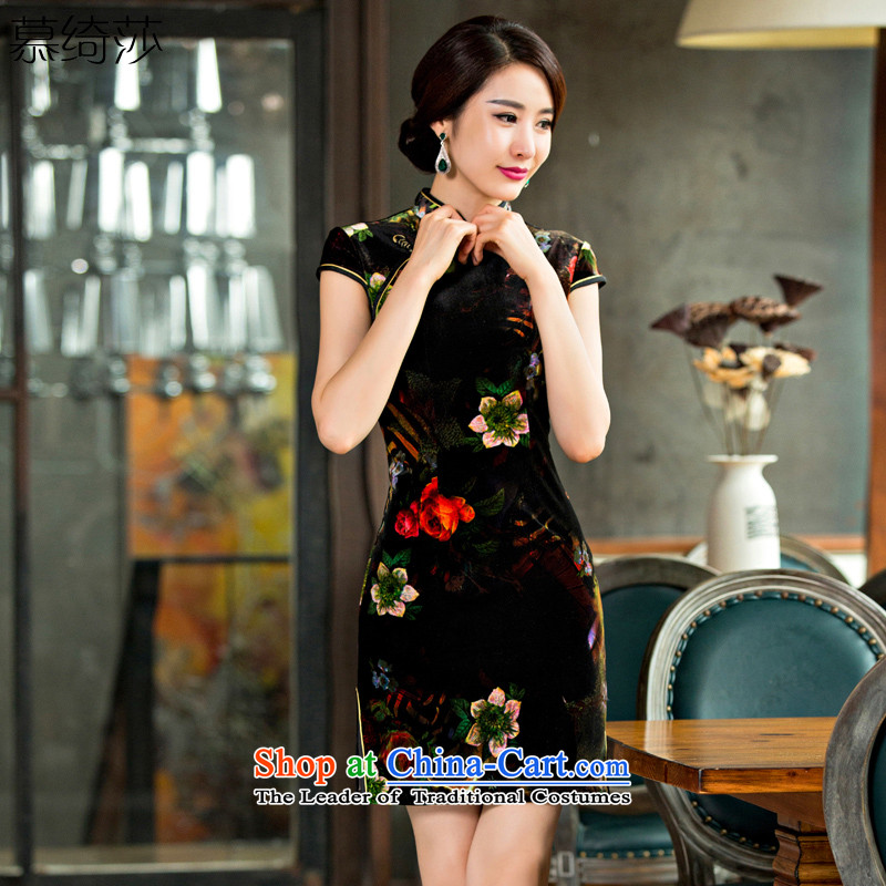The cross-sa�2015 Autumn Rouge daily improved cheongsam dress new plush robes short of cheongsam dress�QD 141�Black�XL