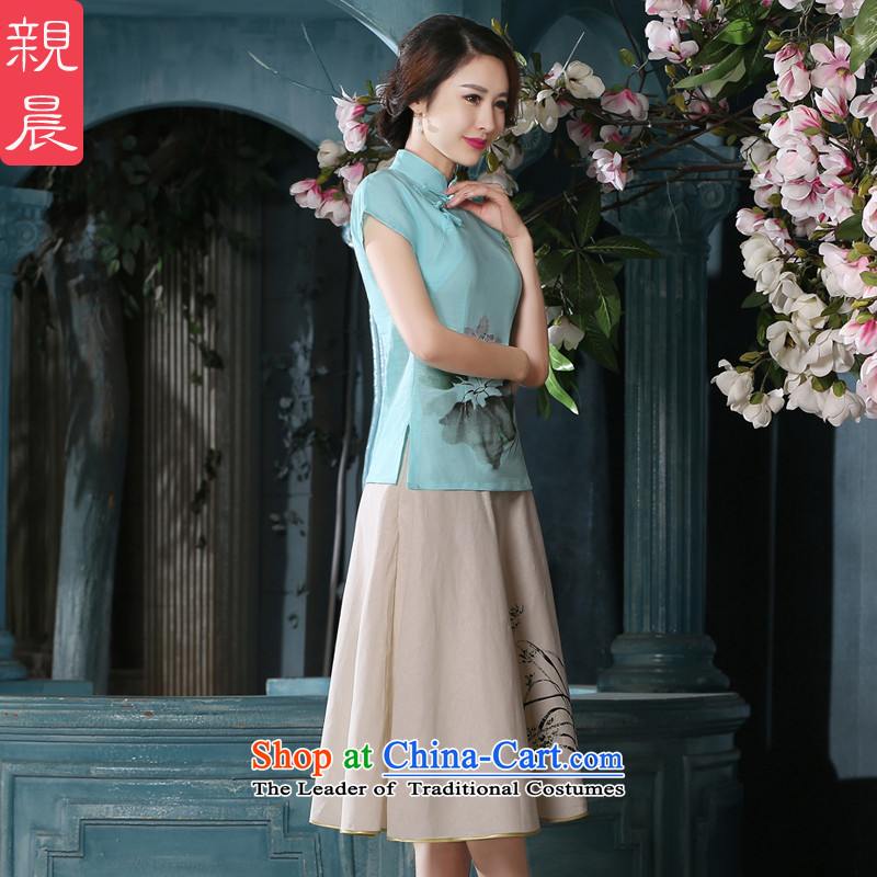 At 2015 new pro-summer cotton linen Chinese daily retro improved Tang Dynasty Package of ethnic female qipao shirt short-sleeved T-shirt +P0011 skirts M