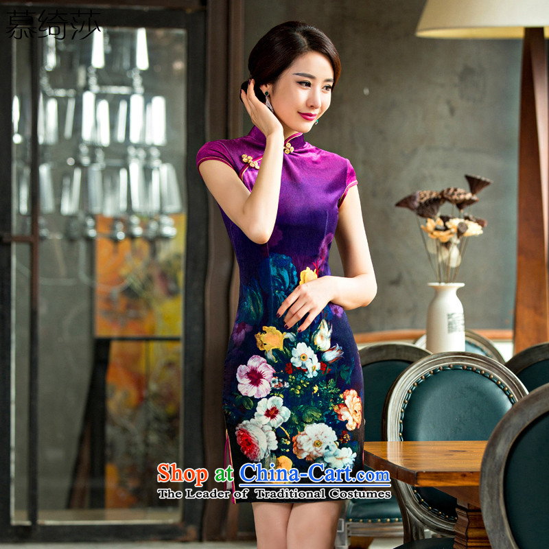 The cross-Sha Wan Lau�15 new stylish qipao improved load scouring pads cheongsam dress autumn燪D 096燤agenta燲L