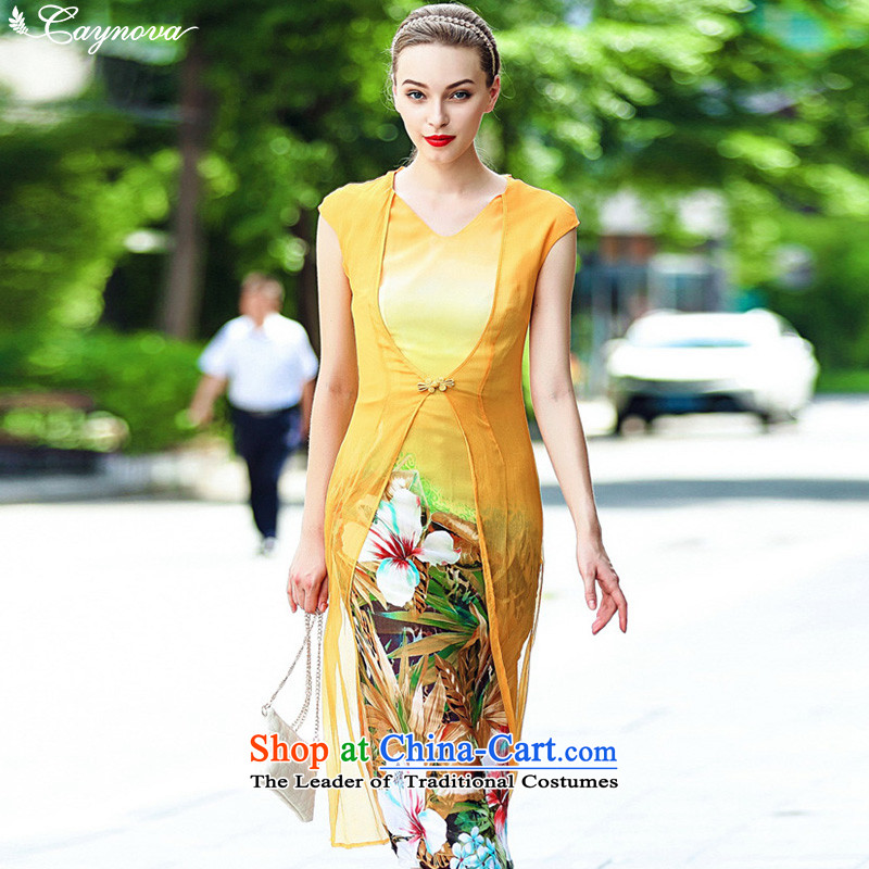 Caynova2015 new products with China wind leave two improved silk cheongsam dress yellow Stamp  ?L