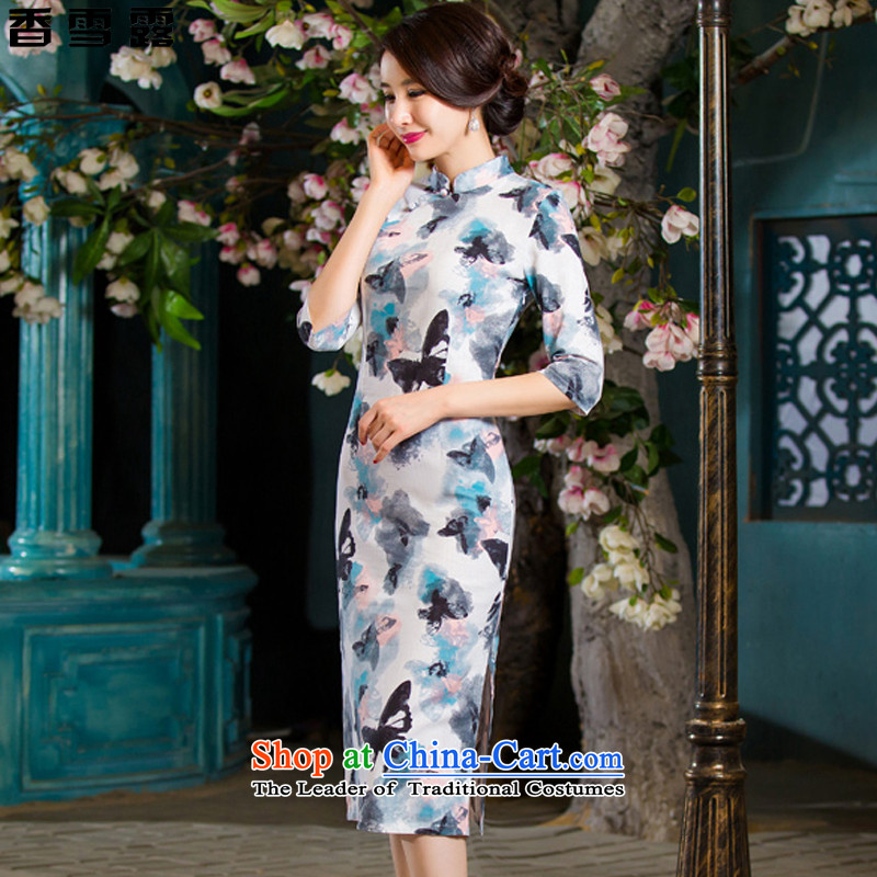 Xiangxue terrace in the autumn 2015 new retro in Short Thin Graphics   large cuff improved linen long skirt X007 qipao ink dish cuff聽XL