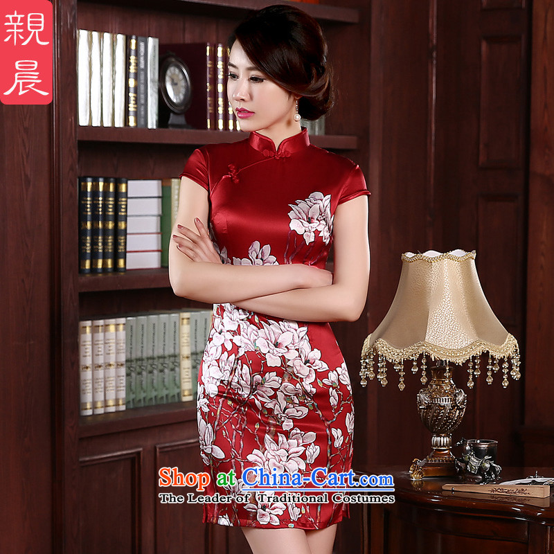 The pro-am daily new 2015 herbs extract upscale summer short of red retro style silk women Sau San qipao short,聽2XL