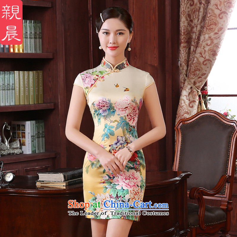 The pro-am daily new 2015 summer short, short-sleeved improved Sau San stylish dresses cheongsam dress short skirts retro,�L