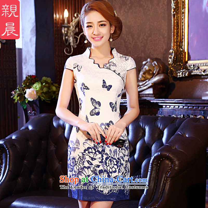 The pro-am 2015 Spring Summer improved Stylish retro daily porcelain short of Sau San qipao skirt dresses picture color聽2XL
