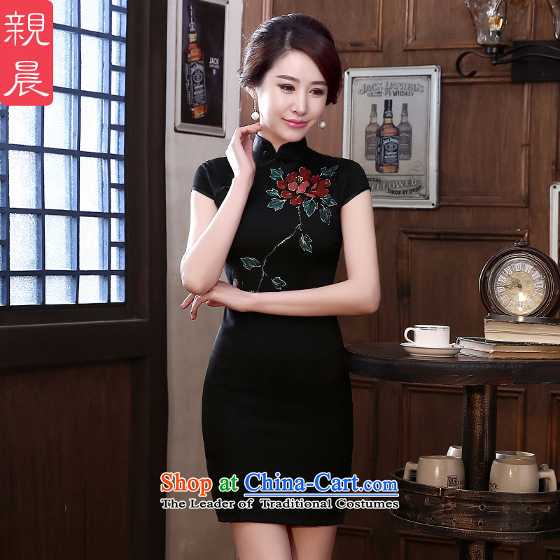 At 2015 new pro-spring and summer silk retro-day short, improved fashionable upper herbs extract Sau San qipao black 2XL