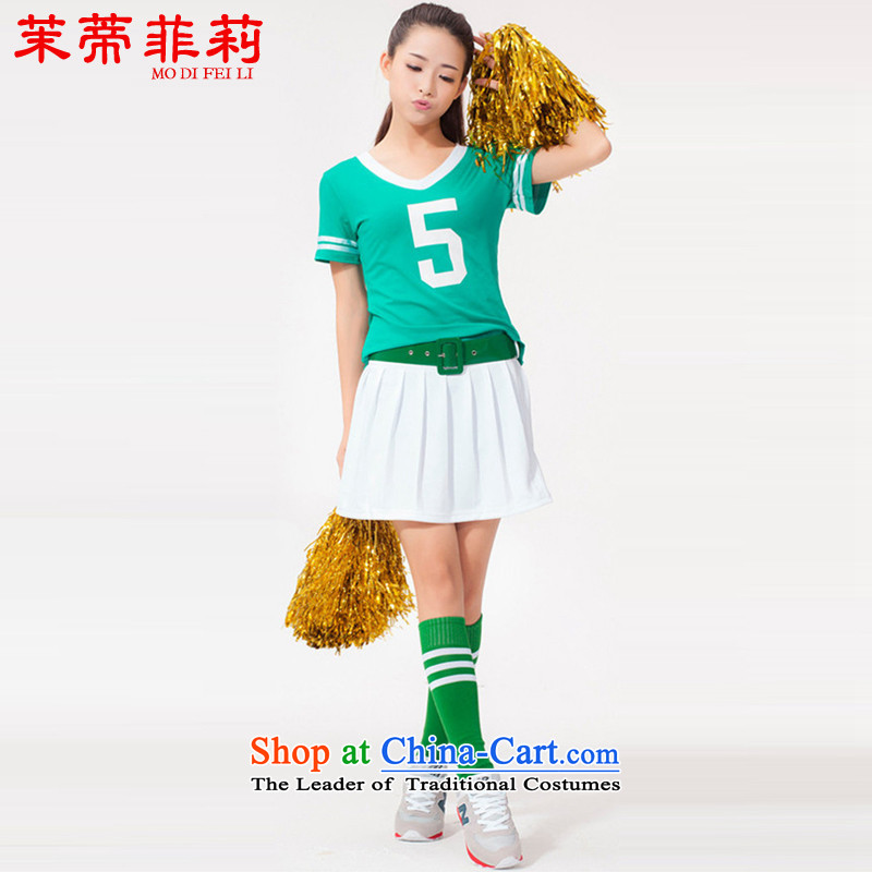 Energy Tifi Li spring and summer fitness services aerobics services aerobics cheering dance performances to female kit green燲L