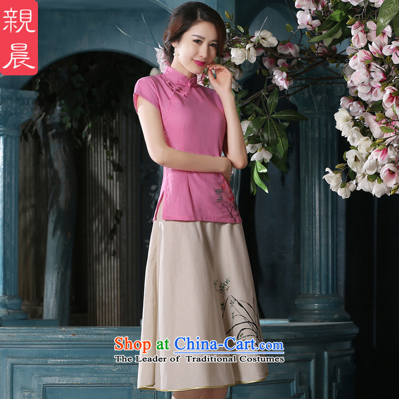 At 2015 new pro-summer and the relatively short time of daily improved retro cotton linen dresses short-sleeved T-shirt qipao female clothes +P0011 skirts M