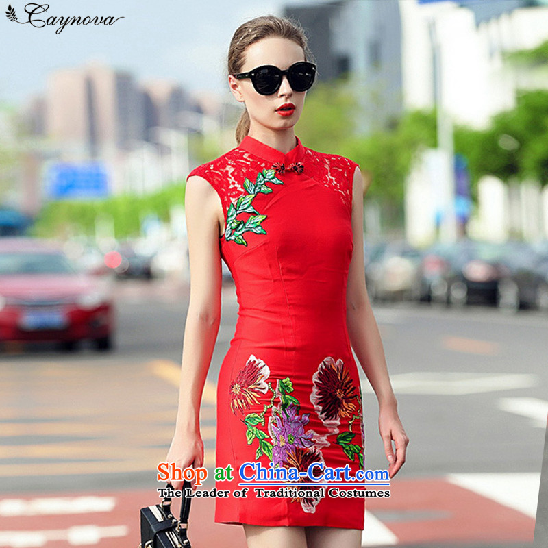 The fall of new products in Europe caynova2015 Sleek and Sexy engraving Lace Embroidery improvements spell cheongsam red燬