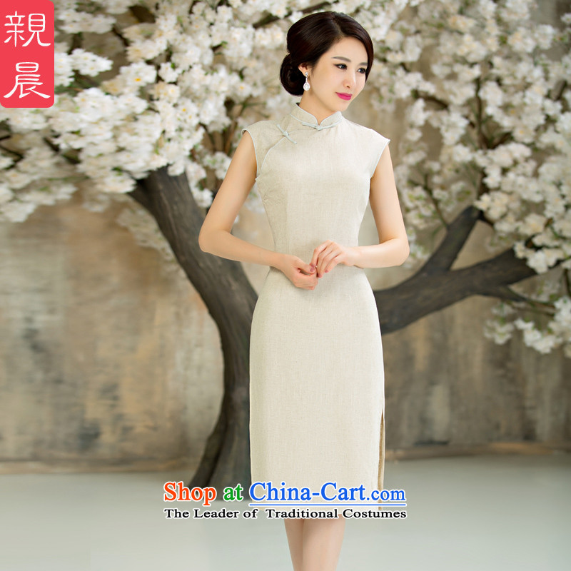 The pro-am daily new improvements by 2015 cotton linen cheongsam dress stylish summer short of Ms. retro cheongsam dress in long?2XL