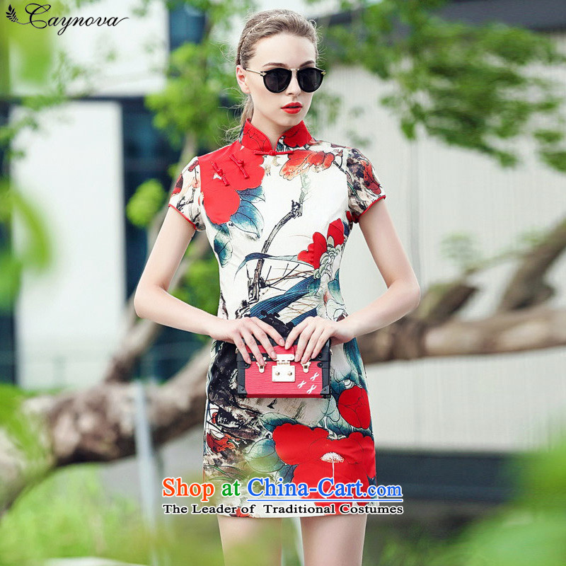 Load New autumn caynova2015 ink painting stamp Sau San qipao skirt improved picture color?XL( thick satin thicker version)