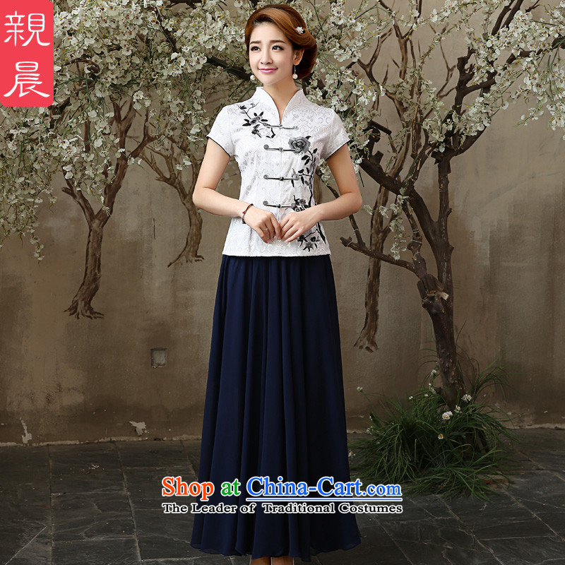 The pro-am 2015 daily new summer retro ethnic very casual stylish improved cotton linen clothes shirt +SZZH girl cheongsam dress chiffon XL