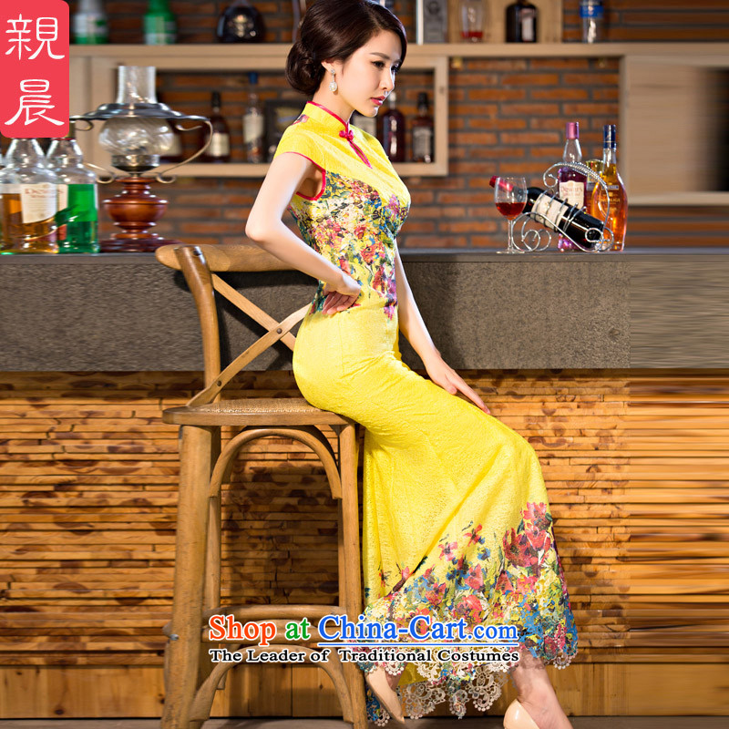 The pro-am new daily qipao 2015 skirt Fashion Ms. summer improved retro long crowsfoot cheongsam dress long?2XL