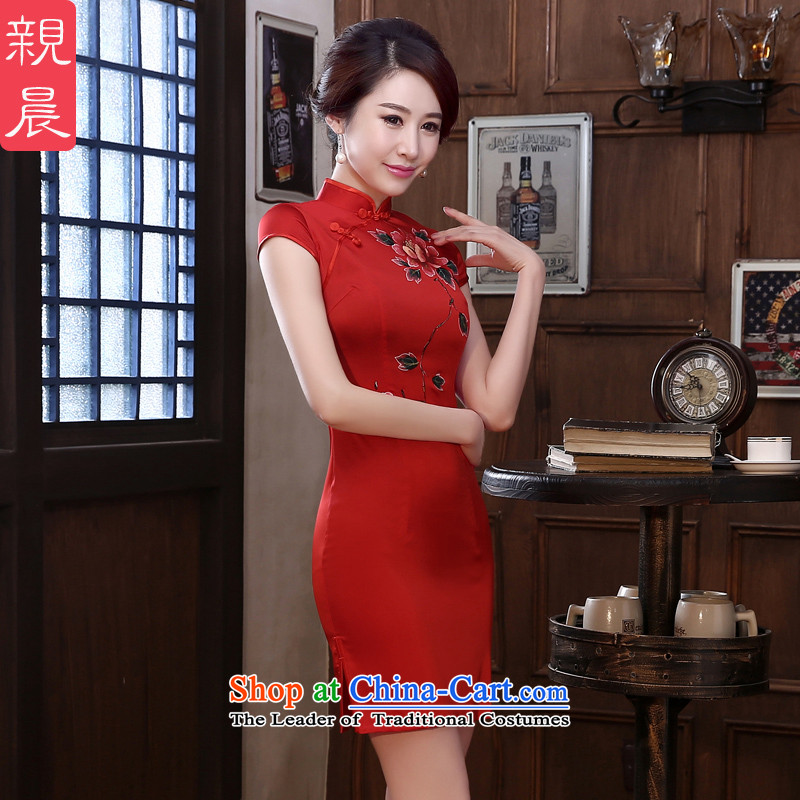 The pro-am daily new 2015 retro herbs extract spring and summer short stylish improved quality Silk Cheongsam Sau San short,?L