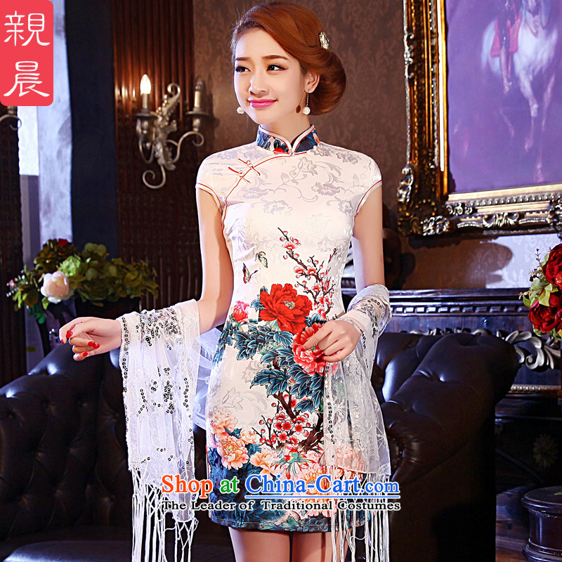 At 2015 new pro-women short skirts spring and summer load retro daily improved national wind cheongsam dress stylish dresses picture color聽XL