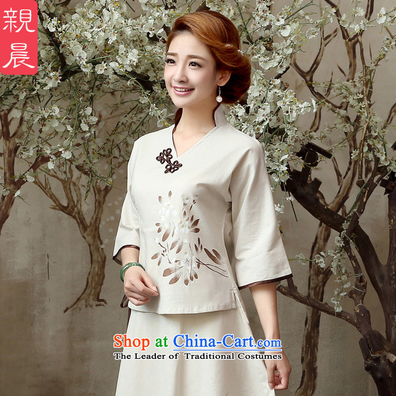 At 2015 new pro-summer and fall inside the reconstructed daily improvement in cotton linen flax long Tang dynasty qipao shirt shirt�L