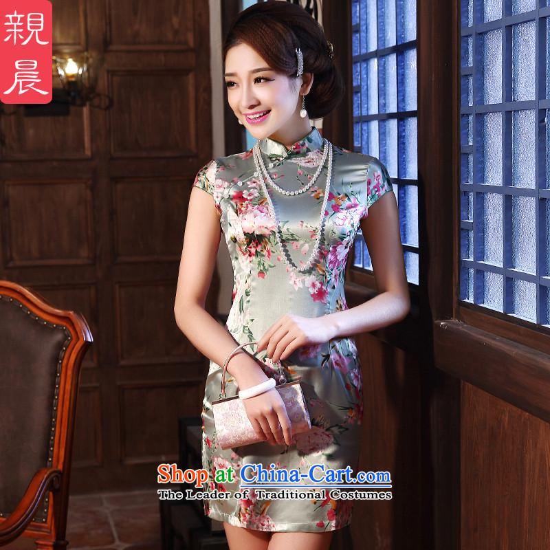 At 2015 new parent dulls short-sleeved retro daily improved stylish Sau San, Ms. Short skirts cheongsam dress photo color聽2XL