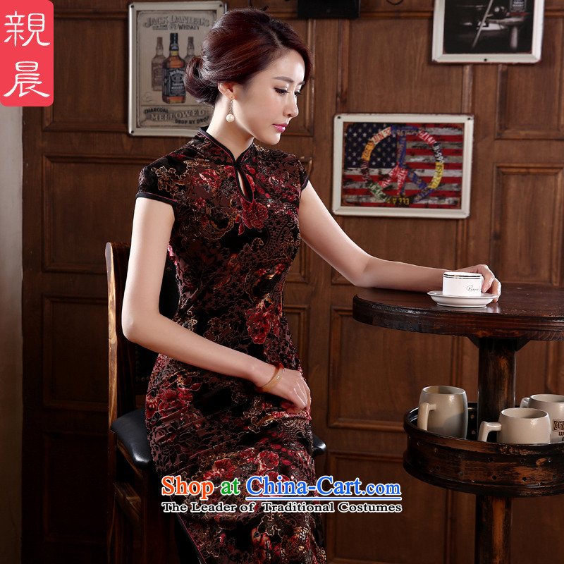 At 2015 new parent in summer and autumn upscale long Kim in older wedding dress velvet cheongsam dress mother RED燤
