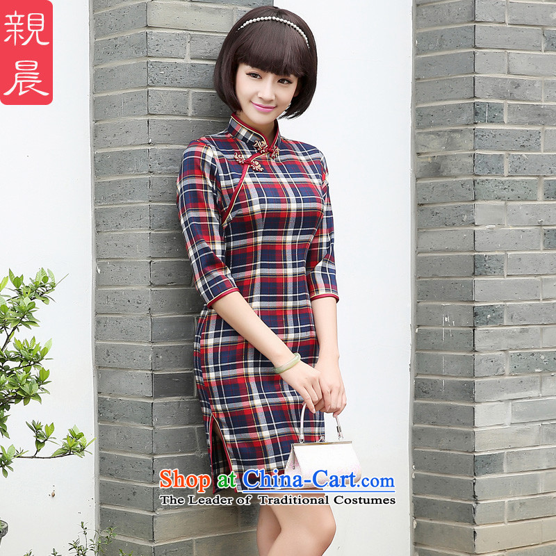 The autumn 2015 morning pro-British Grid daily New Sau San in short, Retro-sleeved dresses cheongsam dress short,燲L