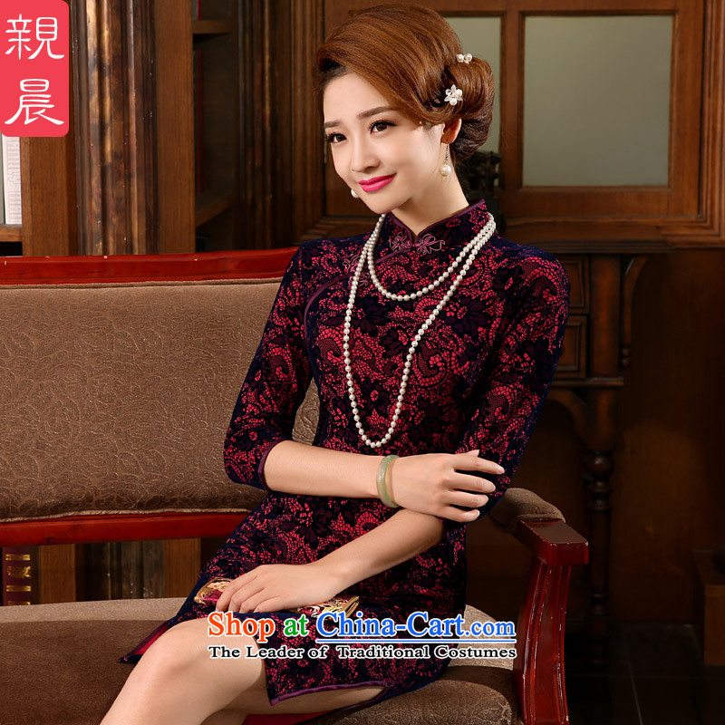 Short, Kim wedding-dress with mother scouring pads in older wedding cheongsam dress the summer and autumn of 2015 the new short-sleeved_ in 7 Cuff燤