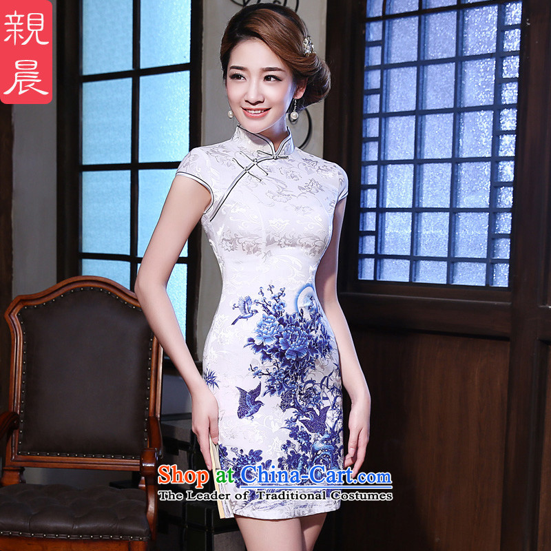 The pro-am qipao skirt short of New 2015 Summer improved Stylish retro Ms. Sau San daily cheongsam dress short,?2XL