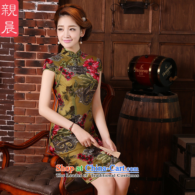 At 2015 new pro-high in summer and autumn wedding dress wedding in older mother replacing qipao Kim velvet picture color?2XL