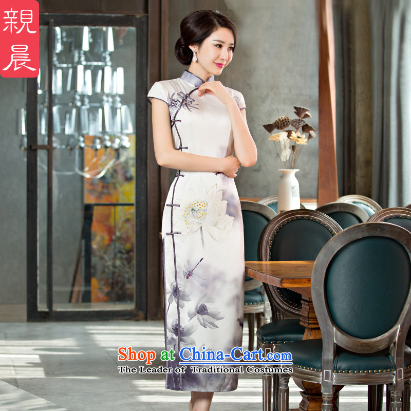 The new 2015 pro-morning long white lotus daily improved cheongsam dress female summer stylish short-sleeved cheongsam dress long?L