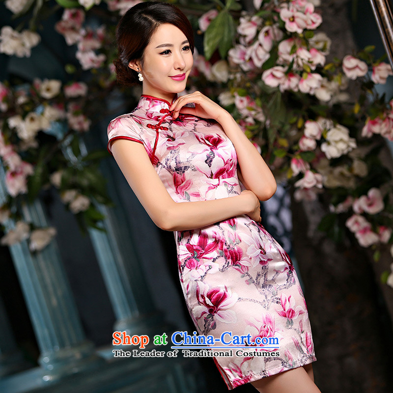 Qipao skirt improved new summer 2015, stylish short, sauna Jamsil Sau San Silk Dresses Q1141 pink?S