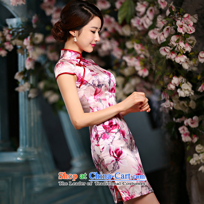 Qipao skirt improved new summer 2015, stylish short, sauna Jamsil Sau San Silk Dresses Q1141 pink S, Jessica (jessica han) covered by , , , shopping on the Internet