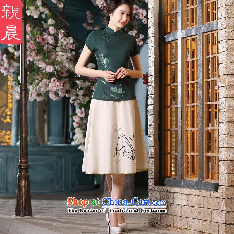 The pro-am new daily improved cotton linen flax retro Tang tray clip stylish qipao short-sleeved T-shirt shirts cheongsam dress +P0011 skirt L