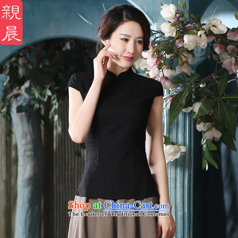 At 2015 new pro-summer daily improved short-sleeved cotton linen dresses Chinese qipao shirt shirts female retro?-seven days of