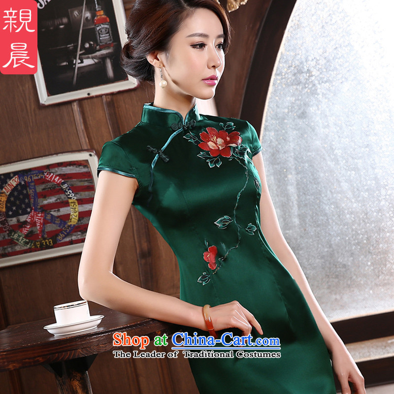 At 2015 new parent cheongsam dress summer short, improved stylish dresses Girl Exclusive heavyweight herbs extract silk picture color?2XL