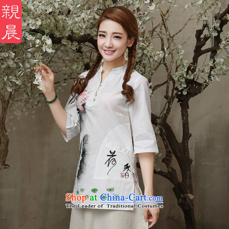 �� pro-am- 2015 new summer daily retro shirt improved national short of modern linen clothes shirt?2XL Cheongsam