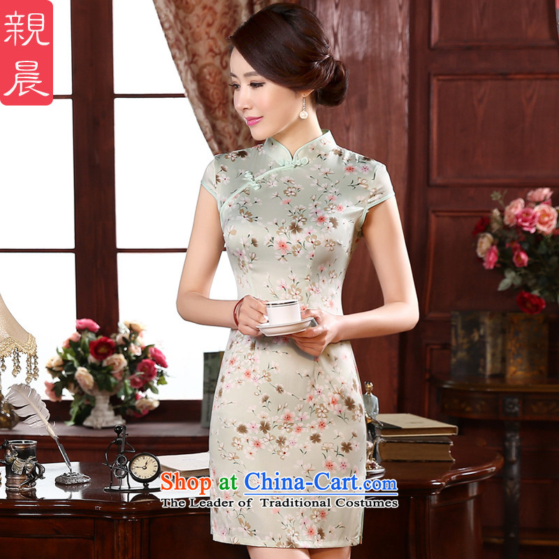 The pro-am daily new 2015 spring_summer load retro Sau San short stylish improved girls short-sleeved cheongsam dress short,?2XL